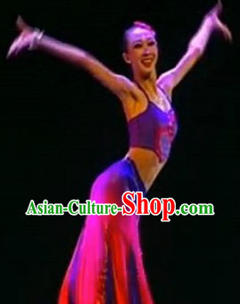 Traditional Chinese Moon Flower Dai Ethnic Solo Dance Costumes and Headgear for Women