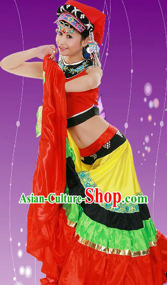 Chinese Festival Celebration Stage Performance Yi Female Clothes and Hat for Women