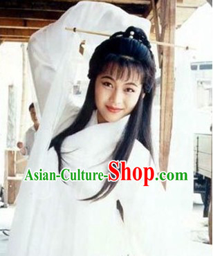 Ancient Chinese White Guzhuang Costumes and Headwear for Women