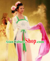 Ancient Chinese Long Water Sleeves Lotus Dance Costumes and Hair Accessories for Women