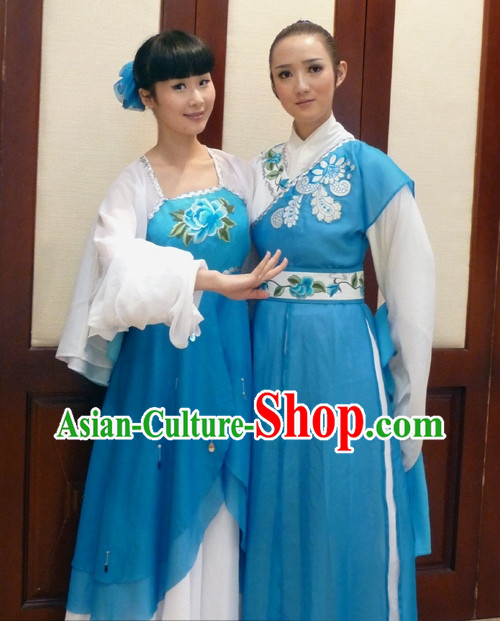 Traditional Chinese Stage Performance Costumes Two Sets for Men and Women