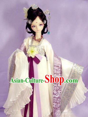 Ancient Chinese White Cosplay Costumes and Hair Accessories for Women