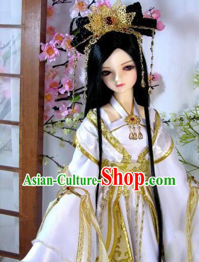 Ancient Chinese White Cosplay Costumes and Hair Accessories Complete Set