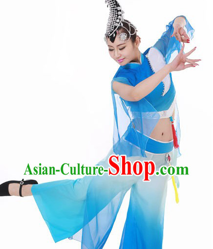 Traditional Chinese Folk Dance Costumes and Headpieces for Women