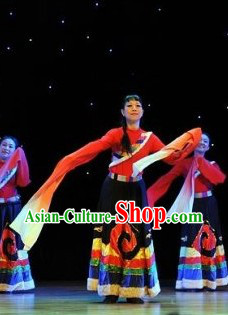 Long Sleeves Chinese Tibetan Dance Costumes and Headpieces for Women