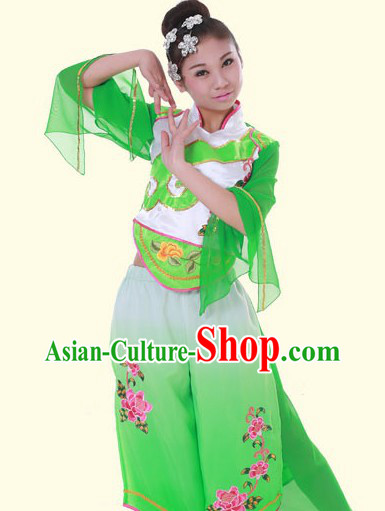 Traditional Chinese Green Fan Dance Costumes and Headpieces for Women