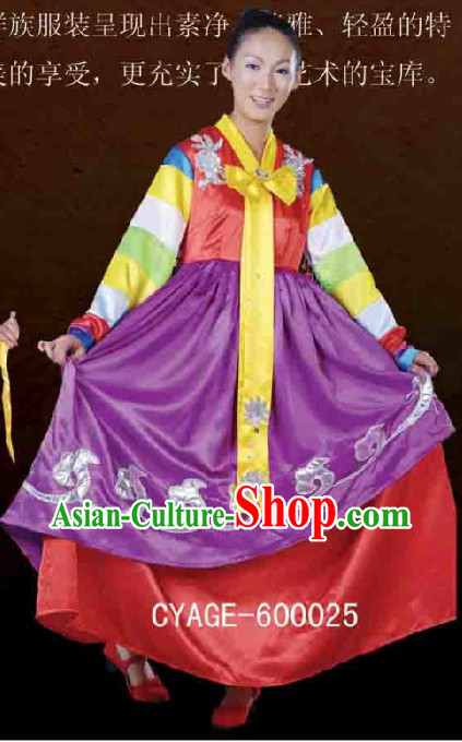 Traditional Chinese Korean Ethnic Minority Dresses and Hat Complete Set for Women