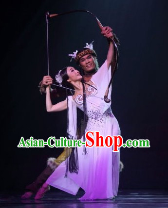 Traditional Chinese Chang Er Classical Dance Costumes and Headwear Complete Set