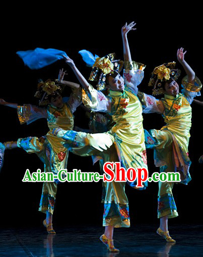 Chinese Classic Dance Outfit and Headpieces Complete Set for Women