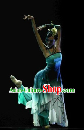 Chinese Classical Orchid Dance Costume and Hair Accessories Complete Set for Women