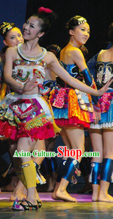 Chinese Miao Princess Dance Costumes and Hair Accessories for Women