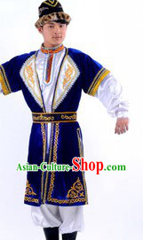 Xinjiang Traditional Dance Clothes and Hat for Men