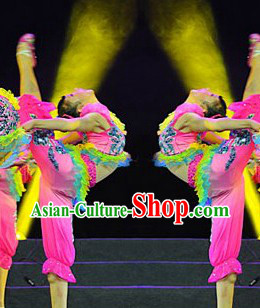 Stage Performance Fan Dance Costumes and Headwear Complete Set for Women