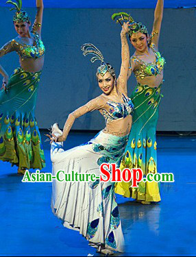 Stage Performance Peacock Dai Princess Ethnic Dance Costumes and Headwear Complete Set for Women