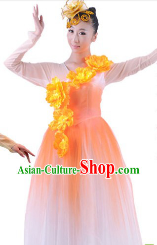 Traditional Chrysanthemum Dance Costumes and Headwear for Women