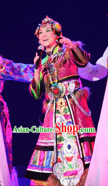 Tibetan Kangting Dance Costumes and Hat for Women