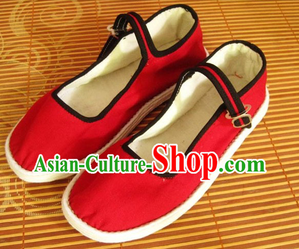 All Handmade Red Chinese Thick Sole Cotton Shoes