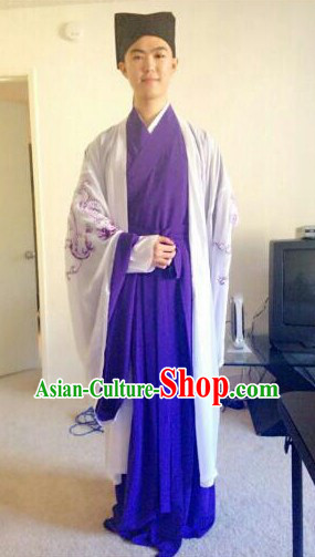 College Student Use Ancient Chinese Scholar Young Men Costumes and Hat Complete Set