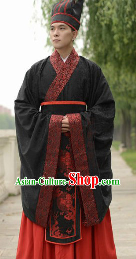 Traditional Chinese Wedding Dress Clothes and Hat Complete Set for Men