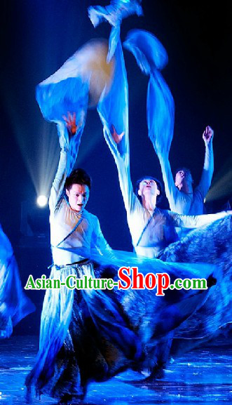 Long Water Sleeves Chinese Classical Dance Costumes Complete Set for Men