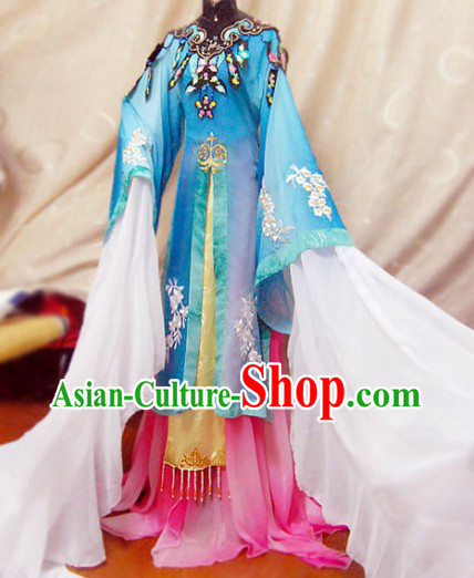 Ancient Chinese Blue Beauty Embroidered Flower Costumes Complete Set for Women