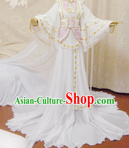 Ancient Chinese Romantic White Princess Cosplay Costume Complete Set for Women