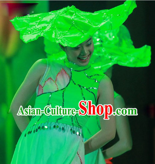 Lotus Dance Costumes and Leaf Hat for Women