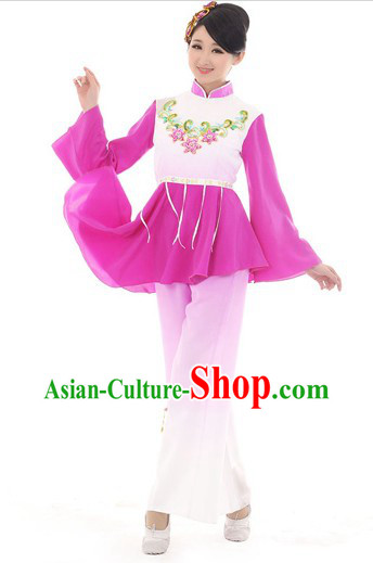 Chinese Purple Fan Dance Costumes and Hair Accessories for Women