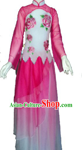 Chinese Pink Flower Dance Costumes