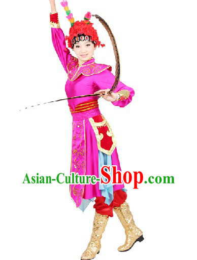 Peking Opera Style Stage Performance Costumes and Headwear Complete Set for Women