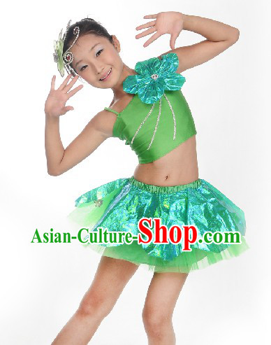 Green Stage Performance Costumes for Kids