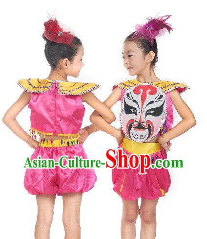 Beijing Opera Mask Stage Performance Dance Costumes for Little Girls