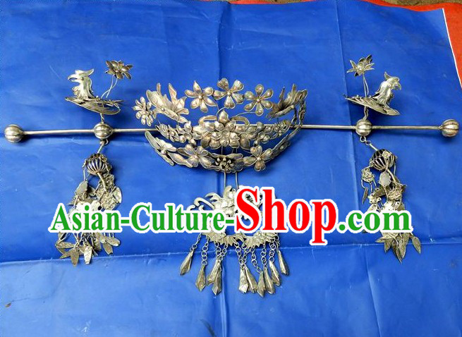 Traditional Chinese Imperial Silver Phoenix Coronet
