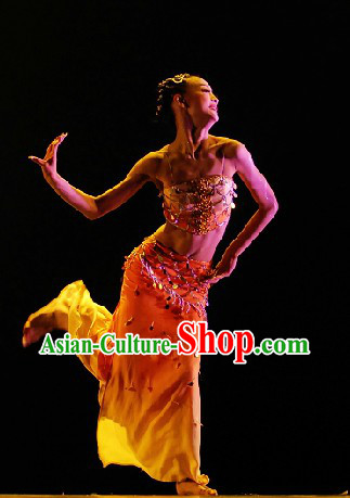 Chinese Yunnan Xishuang Banna Dai Ethnic Dance Costumes and Headwear for Women