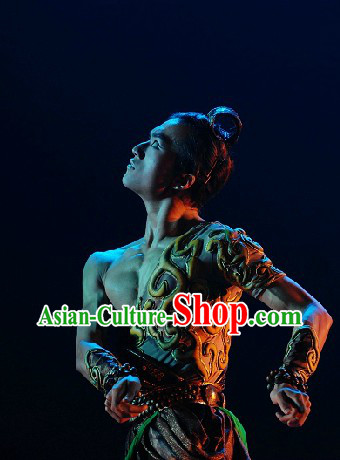 Professional Ancient Hero Competition Dance Costumes and Headwear for Men