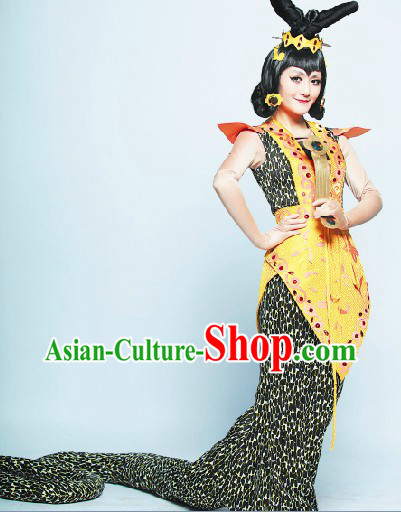Gourd Doll Cartoon Character Snake Spirit Halloween Costumes and Headwear for Women