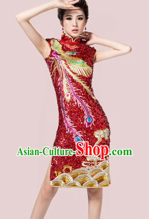 Short Custom-made Traditional Chinese Red Wedding Phoenix Cheongsam