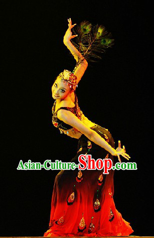 Black Peacock Dance Costume and Headwear for Women