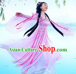 Pink Hanfu Ancient Lovely Young Girl Clothing Complete Set