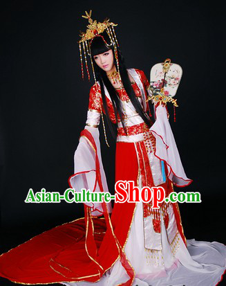 Ancient Asian Princess COS Costumes and Hair Accessories Complete Set