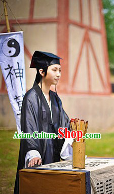 Black Ancient Chinese Fortuneteller Costumes and Hat Complete Set for Men