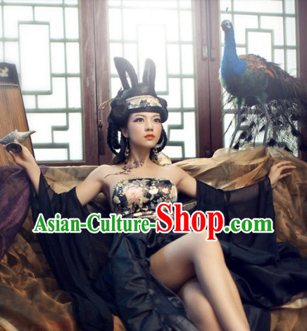 Ancient Chinese Sexy Female Costumes Accessories and Headdress Complete Set