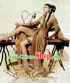 Chinese Traditional Sexy Beauty Hanfu Clothes and Hair Accessories Complete Set