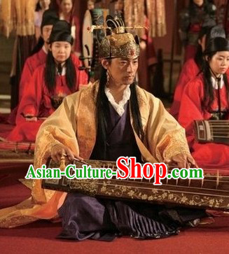 Ancient Korean Imperial Palace Emperor Costumes Complete Set for Men