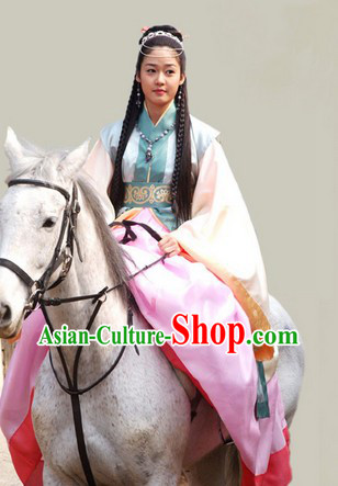 Ancient Korean Princess Outfit and Headpieces Complete Set for Women