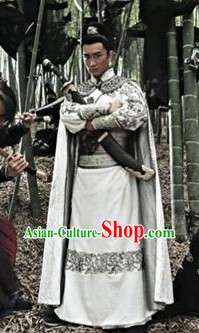 Ancient Chinese White Embroidered Swordsman Costumes and Accessories Complete Set