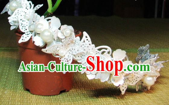 Handmade Traditional Chinese Wedding Butterfly Flower Bridal Headpieces Complete Set