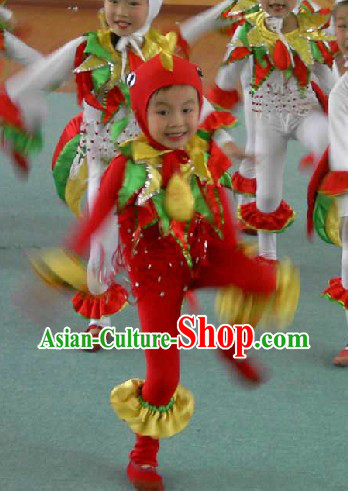 Traditional Chinese Chicken Dance Costumes Set for Children