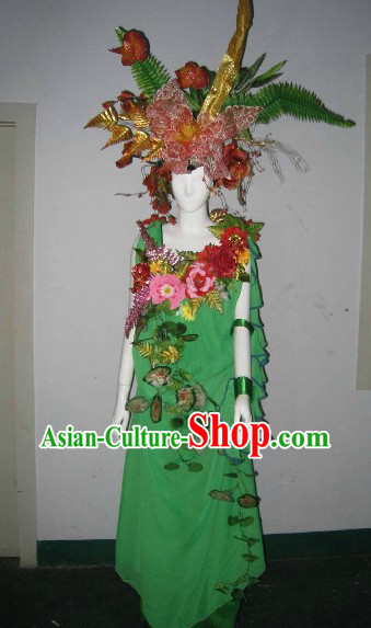 Forest Princess Model Costumes and Headdress Complete Set