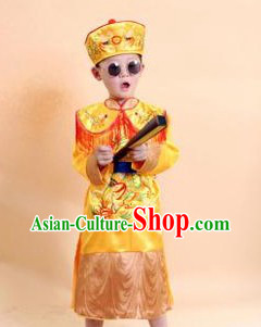 Ancient Chinese Emperor Costumes and Hat Complete Set for Kids